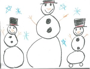 Elsa Harmon snowman drawing which was used for the Hope for the Holidays cards and print materials