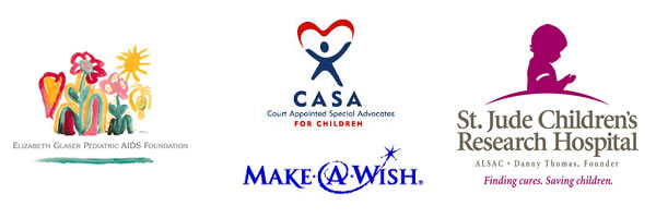 Jewelers for Children charity partner logo collage featuring Elizabeth Glaser Pediatric AIDS Foundation, Make-A-Wish, St. Jude Children's Research Hospital, and CASA