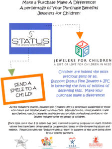 Jewelers for Children promotional ad explaining how the percentage of your purchase benefits JFC for retailers
